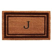 "Home & More Monogram Letter ""J"" 18-Inch x 30-Inch Border Door Mat in Brown"