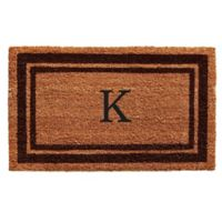 "Home & More Monogram Letter ""K"" 18-Inch x 30-Inch Border Door Mat in Brown"