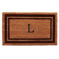 """Home & More Monogram Letter """"L"""" 18-Inch x 30-Inch Border Door Mat in Brown"""