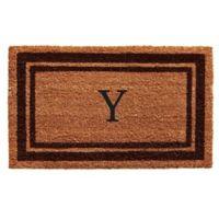 """Home & More Monogram Letter """"Y"""" 18-Inch x 30-Inch Border Door Mat in Brown"""