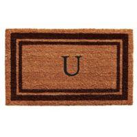 """Home & More Monogram Letter """"U"""" 18-Inch x 30-Inch Border Door Mat in Brown"""