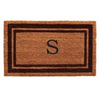 """Home & More Monogram Letter """"S"""" 18-Inch x 30-Inch Border Door Mat in Brown"""