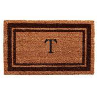 """Home & More Monogram Letter """"T"""" 18-Inch x 30-Inch Border Door Mat in Brown"""