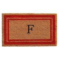 "Home & More Monogram Letter ""F"" 24-Inch x 36-Inch Border Door Mat in Red"