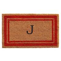 "Home & More Monogram Letter ""J"" 24-Inch x 36-Inch Border Door Mat in Red"