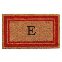 """Home & More Monogram Letter """"E"""" 24-Inch x 36-Inch Border Door Mat in Red"""