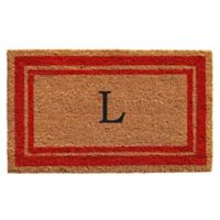 "Home & More Monogram Letter ""L"" 24-Inch x 36-Inch Border Door Mat in Red"