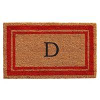 """Home & More Monogram Letter """"D"""" 24-Inch x 36-Inch Border Door Mat in Red"""