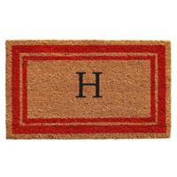 "Home & More Monogram Letter ""H"" 24-Inch x 36-Inch Border Door Mat in Red"