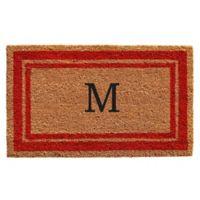 "Home & More Monogram Letter ""M"" 24-Inch x 36-Inch Border Door Mat in Red"