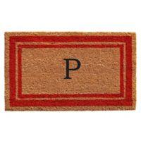 "Home & More Monogram Letter ""P"" 24-Inch x 36-Inch Border Door Mat in Red"