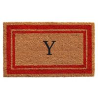 "Home & More Monogram Letter ""Y"" 24-Inch x 36-Inch Border Door Mat in Red"