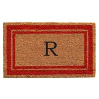 "Home & More Monogram Letter ""R"" 24-Inch x 36-Inch Border Door Mat in Red"