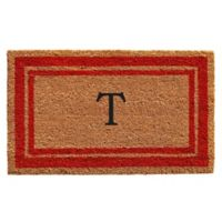 "Home & More Monogram Letter ""T"" 24-Inch x 36-Inch Border Door Mat in Red"
