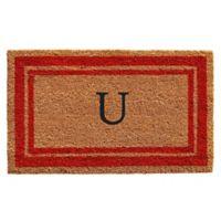 """Home & More Monogram Letter """"U"""" 24-Inch x 36-Inch Border Door Mat in Red"""