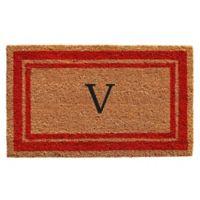 "Home & More Monogram Letter ""V"" 24-Inch x 36-Inch Border Door Mat in Red"