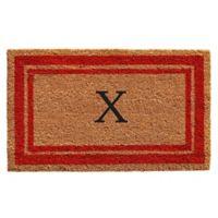 "Home & More Monogram Letter ""X"" 24-Inch x 36-Inch Border Door Mat in Red"