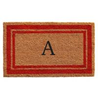 "Home & More Monogram Letter ""A"" 24-Inch x 36-Inch Border Door Mat in Red"