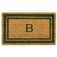 "Home & More Monogram Letter ""B"" 24-Inch x 36-Inch Border Door Mat in Sage"