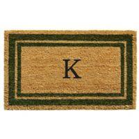 """Home & More Monogram Letter """"K"""" 24-Inch x 36-Inch Border Door Mat in Sage"""