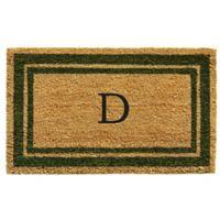 """Home & More Monogram Letter """"D"""" 24-Inch x 36-Inch Border Door Mat in Sage"""