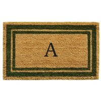 "Home & More Monogram Letter ""A"" 24-Inch x 36-Inch Border Door Mat in Sage"