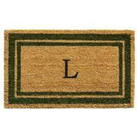 "Home & More Monogram Letter ""L"" 18-Inch x 30-Inch Border Door Mat in Sage"
