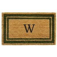 "Home & More Monogram Letter ""W"" 24-Inch x 36-Inch Border Door Mat in Sage"