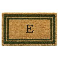 "Home & More Monogram Letter ""E"" 18-Inch x 30-Inch Border Door Mat in Sage"