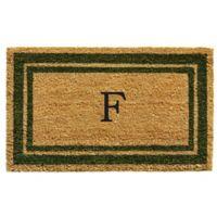 "Home & More Monogram Letter ""F"" 18-Inch x 30-Inch Border Door Mat in Sage"