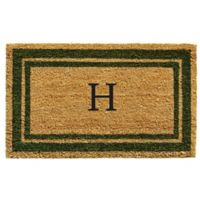 "Home & More Monogram Letter ""H"" 18-Inch x 30-Inch Border Door Mat in Sage"