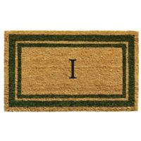 "Home & More Monogram Letter ""I"" 18-Inch x 30-Inch Border Door Mat in Sage"