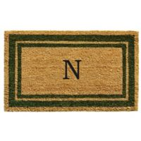 "Home & More Monogram Letter ""N"" 18-Inch x 30-Inch Border Door Mat in Sage"