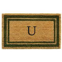 """Home & More Monogram Letter """"U"""" 18-Inch x 30-Inch Border Door Mat in Sage"""