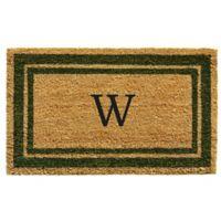 "Home & More Monogram Letter ""W"" 18-Inch x 30-Inch Border Door Mat in Sage"