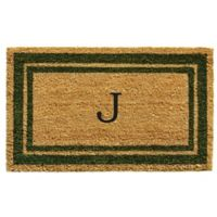 "Home & More Monogram Letter ""J"" 18-Inch x 30-Inch Border Door Mat in Sage"