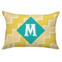 Zigzag Oblong Outdoor Pillow in Teal/Yellow