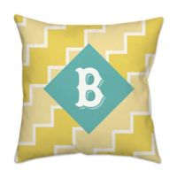 Zigzag Square Outdoor Pillow in Teal/Yellow