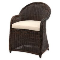 Safavieh Newton All-Weather Wicker Arm Chair in Brown/Beige with Cushion