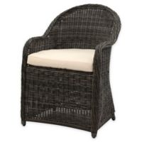 Safavieh Newton All-Weather Wicker Arm Chair in Grey/Beige with Cushion