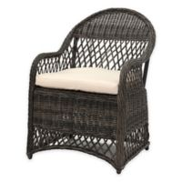 Safavieh Davies All-Weather Wicker Arm Chair in Grey/Beige with Cushion