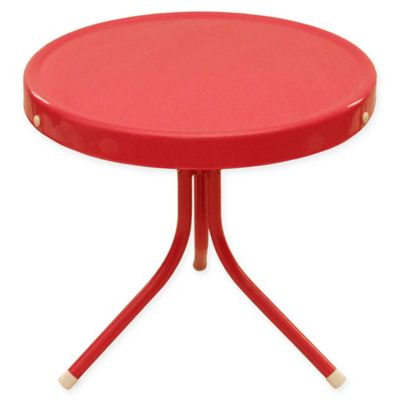 Beau LB International Retro Metal Tulip Outdoor Side Table In Red