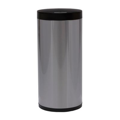 eko stainless steel 13 gallon round sensor trash can in silver