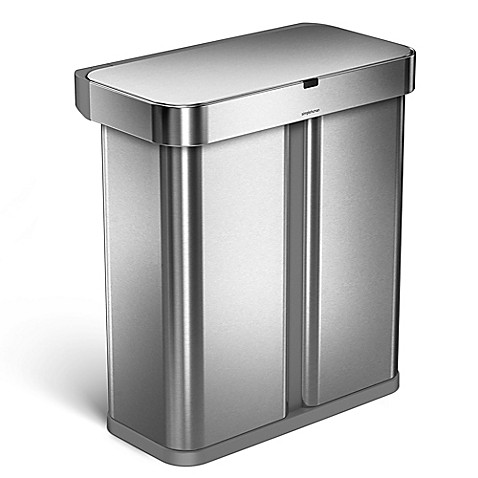 Simplehuman 174 58 Liter Voice Activated Dual Recycling Trash