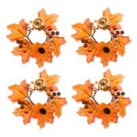 Glitzy Pumpkin Napkin Rings (Set of 4)