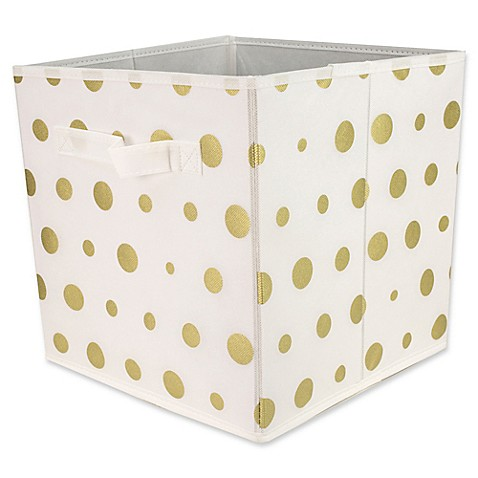 Home basics dot patterned storage bin in metallic gold for Gold bathroom bin