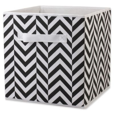 Home Basics® Chevron Patterned Storage Bin in Black/White  sc 1 st  Bed Bath u0026 Beyond & Buy White Storage Bins from Bed Bath u0026 Beyond