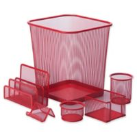 Honey-Can-Do 6-Piece Desk Organizer Set in Red