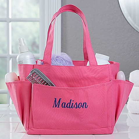 image of Pink Perfection Embroidered Name Shower Caddy