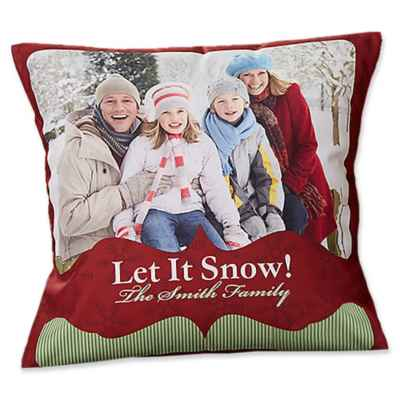 Classic Holiday Photo Throw Pillow